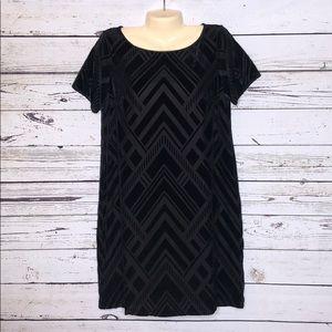 White House Black Market L Chevron Velvet Dress